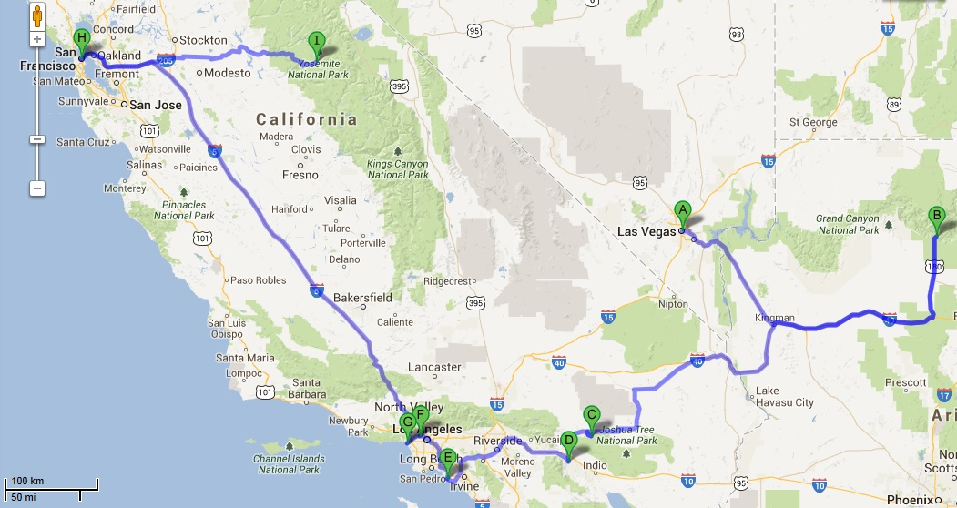 California Road Trip Map Afputra Com